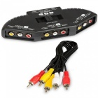 3-i-1 Composite RCA AV Audio Video Selector Switch Splitter - Svart