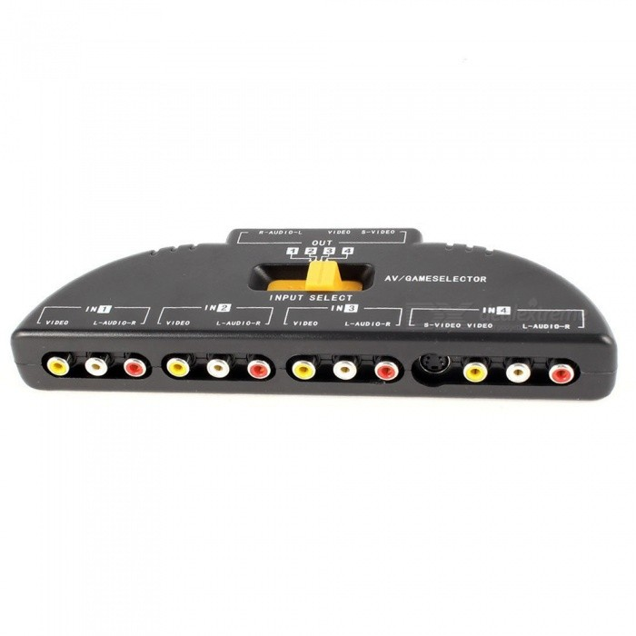 4 voies Audio Video AV RCA Switch / Game Selector Box Splitter - Noir
