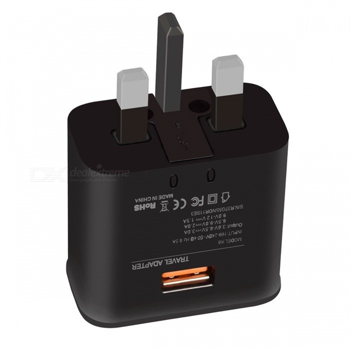 Premium Design UK Plug Quick Charge 3.0 18W Wall Charger - Black