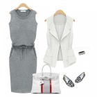 Cotton Thin Waist Sleeves Sleeveless Dress - Gray (S)