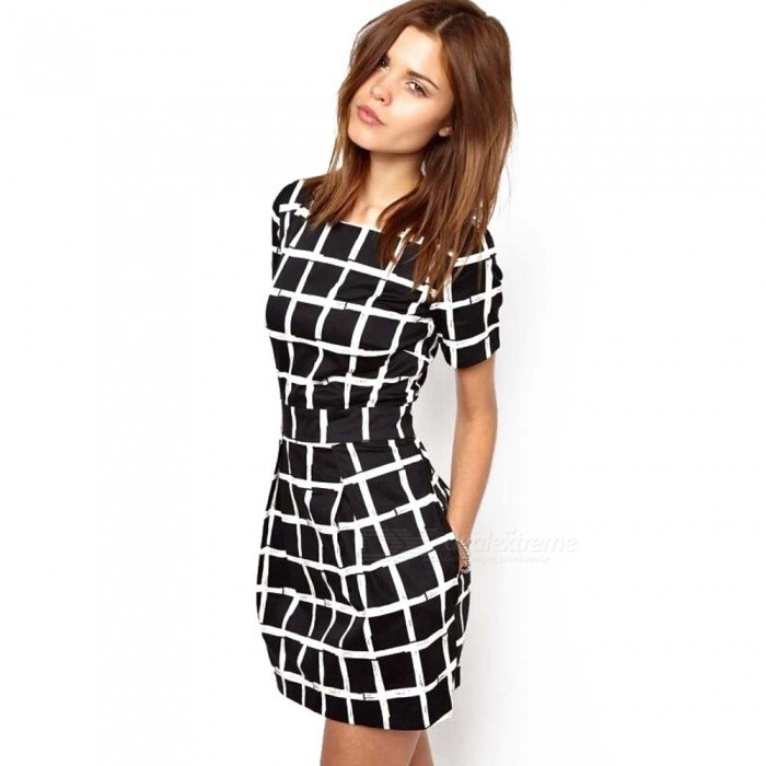 European Style Lattice Short-Sleeved One-Piece Dress - Free shipping -  DealExtreme 5933e35152443