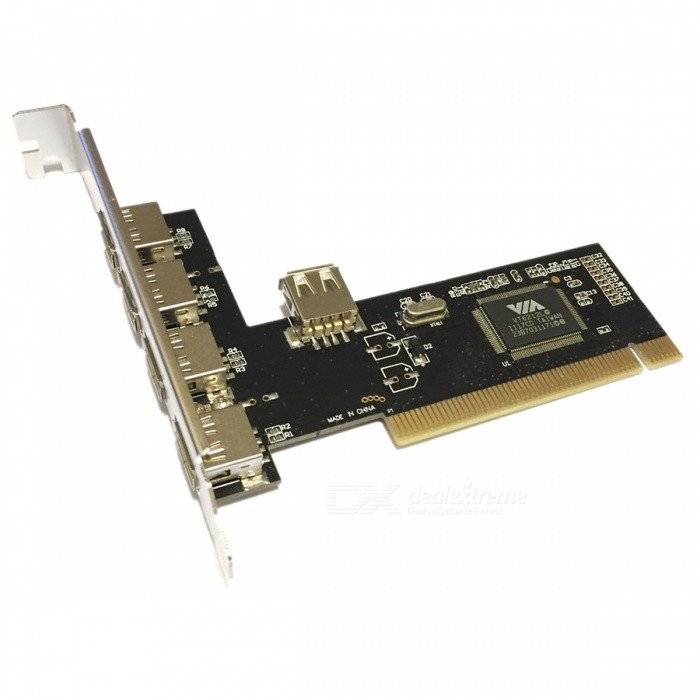 Cwxuan 5 porttia PCI High Speed ​​USB 2.0 Sovitinkortti - Musta