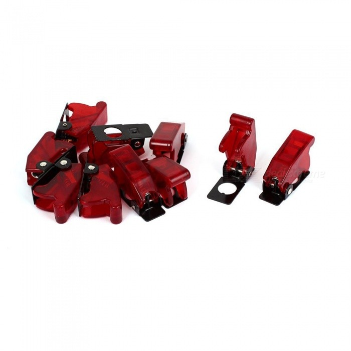 Plastic Safety Switch Flip Cap Guards for Toggle Switch (10Pcs) - RedSwitches &amp; Adapters<br>Form  ColorBlack + RedQuantity10 DX.PCM.Model.AttributeModel.UnitMaterialPlastic metal springPower Range250VMax. Current10AWorking Temperature-25~+85 DX.PCM.Model.AttributeModel.UnitPacking List10 x Toggle Switch Covers<br>