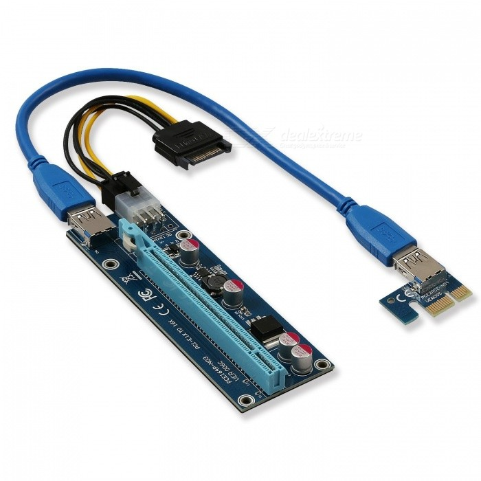 Kitbon USB 3.0 PCI-E 1X to 16X Riser Adapter Card Extender CableForm  ColorBlueQuantity1 DX.PCM.Model.AttributeModel.UnitMaterialABSPacking List1 x PCI-E 16X riser board (PCB color may vary from images. Message us for details.)1 x PCI-E 1X adapter card (PCB color may vary from images. Message us for details.)1 x 60cm USB 3.0 cable (cable color may vary from images. Message us for details.)1 x 6-pin PCI-E power to 15-pin SATA power cable<br>