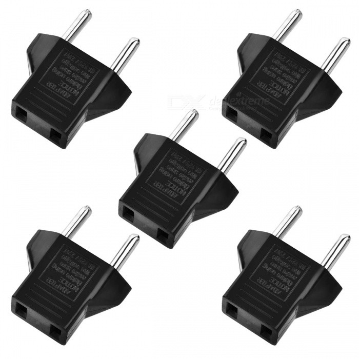 Flat to Round Power Plug Convertors - Black (5 PCS)