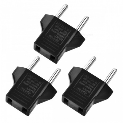 Flat to Round Power Plug Convertors - Black (3 PCS)