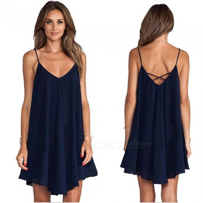 Loose Low-lying Halter Strap Womens Dress - Deep Blue (M)Dresses<br>Form  ColorDeep BlueSizeMQuantity1 pieceMaterialChiffonWaist Girth85 cmHip Girth98 cmTotal Length73 cmSuitable for Height150-165 cmPacking List1 x Dress<br>