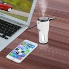 BC20 Portable 2 USB Ports Ultrasonic Humidifier Car Charger - White