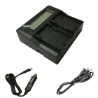 Ismartdigi BP214 US LCD Dual Charger w/ Car Charge Cable for Canon