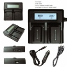 Ismartdigi BP930 US LCD Dual Charger w/ Car Charge Cable for Canon
