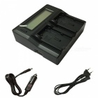 Ismartdigi LCD Dual Charger with Car Charge Cable for Canon - Black