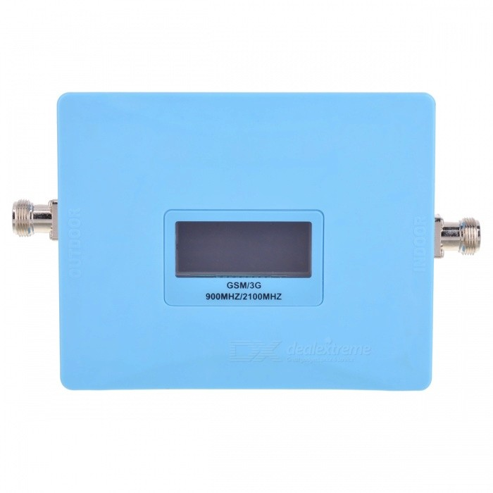 GSM/3G 900MHz/2100MHz Dual Band Mobile Phone Signal Repeater - BlueSignal Booster<br>Form  ColorBlue (EU Plug)Quantity1 DX.PCM.Model.AttributeModel.UnitNetwork Type2G,3GNetwork DetailsGSM,WCDMAFrequency RangeUplink:890-915MHz, 1920~1990MHz; Downlink:935-960MHz, 2110~2180MHzShade Of ColorBlueApplicationIndoor,OutdoorFrequency Range Uplink890-915MHz, 1920~1990MHzFrequency Range Down Link935-960MHz, 2110~2180MHzMax. Coverage Square Meters500~2000 square meterGain (dBi)65dBiOutput Power1 DX.PCM.Model.AttributeModel.UnitNoise Figure (Db)4dBElectromagnetic CompatibilityETS300 609-4I/O Impedance50Power AdapterEU PlugPacking List1 x Signal booster1 x Indoor  antenna1 x 10m outdoor suction cup antenna1 x Power adapter (EU Plug)1 x English user manual<br>