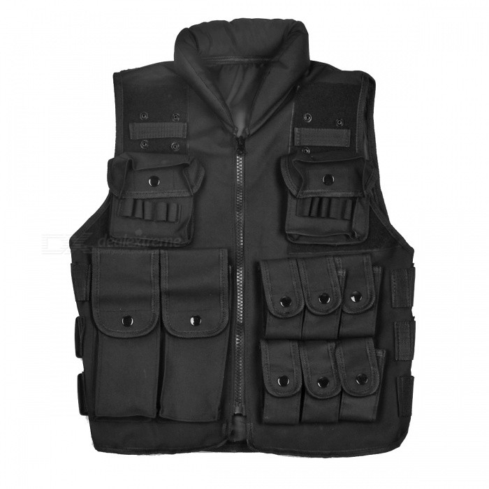 Outdoor Multi-Pocket Nylon Fabric CS Tactical Adjustable Vest - Black