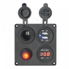 CS-509B1 Car Switch Panel / Cigarette Charger / Voltmeter / Dual USB