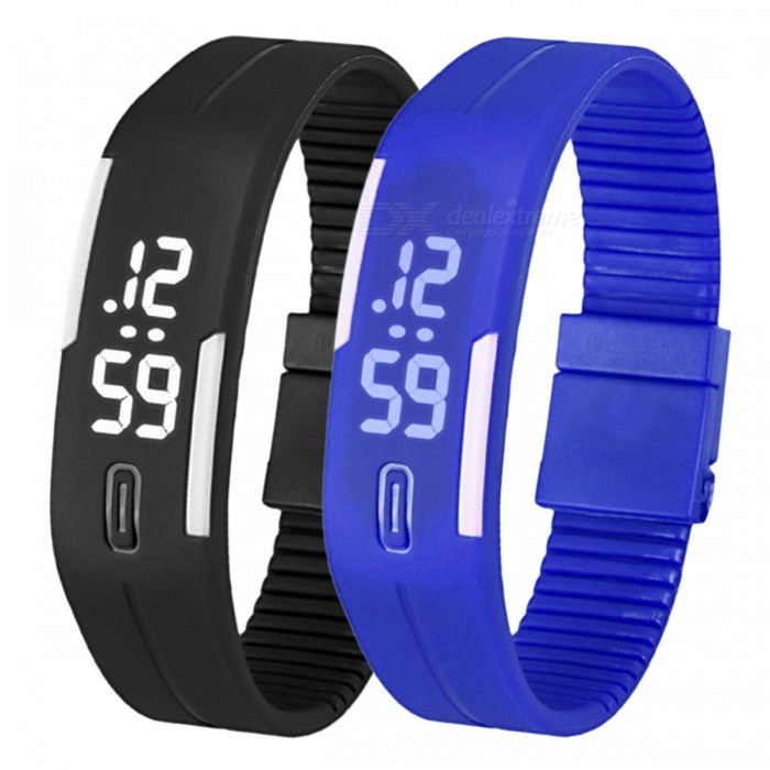Unisex Lodestone PU Band LED Bracelet Wrist Watch- Black + Blue (2PCS)LED Watches<br>Form  ColorBlack + Blue (2PCS)Quantity2 piecesShade Of ColorBlackCasing MaterialPUWristband MaterialPUSuitable forOthers,EveryoneGenderUnisexStyleBracelet WatchTypeCasual watchesDisplayDigitalBacklightWhiteMovementDigitalDisplay Format12 hour formatWater ResistantWater Resistant 3 ATM or 30 m. Suitable for everyday use. Splash/rain resistant. Not suitable for showering, bathing, swimming, snorkelling, water related work and fishing.Wristband Length22 cmDial Diameter2.5 cmDial Thickness0.8 cmBand Width2.5 cmBatteryLR1130*2Packing List2 x Watches<br>