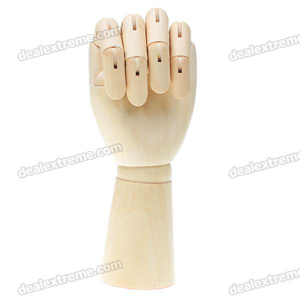 Wooden 15-Joint Moveable Manikin Man Left Hand Model (29cm)