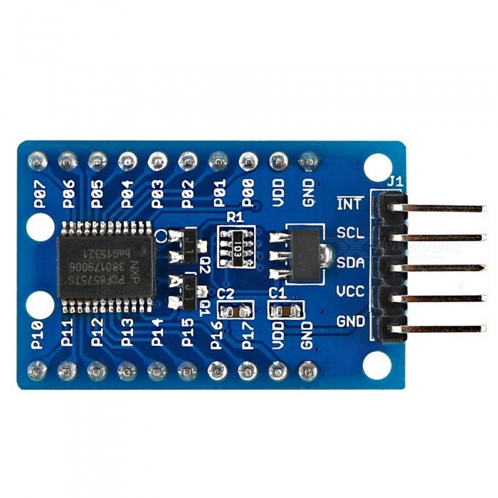OPRN-SMART PCF8575 IO Expander Module I2C to 16IO for ArduinoOther Accessories<br>Form  ColorBlue + BlackModelN/AQuantity1 pieceMaterialPCB + Alloy + PlasticDownload Link   http://drive.google.com/drive/folders/0B6uNNXJ2z4CxTkFqMm5FSzZtZ2s?usp=sharingPacking List1 x Module<br>
