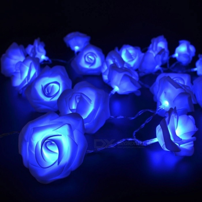Rose Flower Fairy String Light Lamp for Wedding Decoration - Blue - Free Shipping - DealExtreme