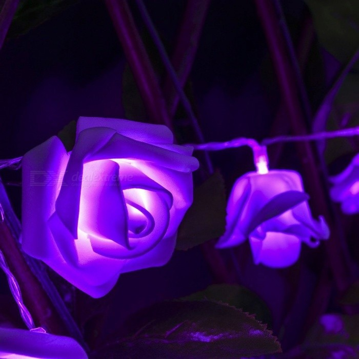 Rose Flower Fairy String Light Lamp for Wedding Decoration - Purple - Free Shipping - DealExtreme