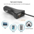 2.4A USB Fast Charging Bluetooth Car Charger w/ FM Transmitter - Black