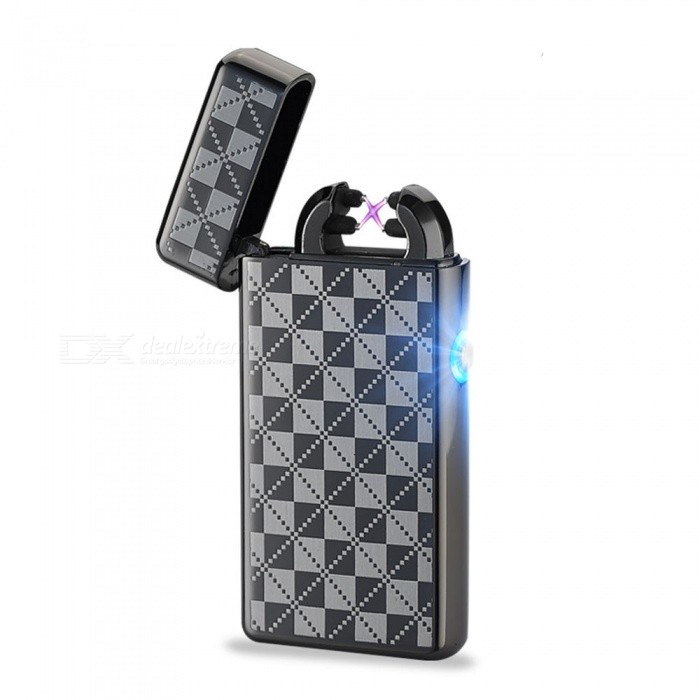 MAIKOU  USB Arc Metal Rechargeable Windproof Cigarette Lighter - Black