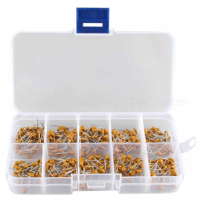 Hengjiaan 300PCS 10 Kinds Monolithic Capacitor Sets - OrangeDIY Parts &amp; Components<br>Form  ColorOrange YellowQuantity10 DX.PCM.Model.AttributeModel.UnitMaterialCeramicsCertificationNoPacking List300 x Monolithic capacitor kits<br>