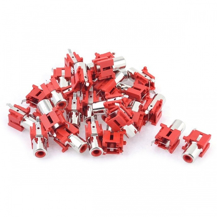 Red AV Single Female Jack RCA Socket Connectors Adapters - Red (30PCS)