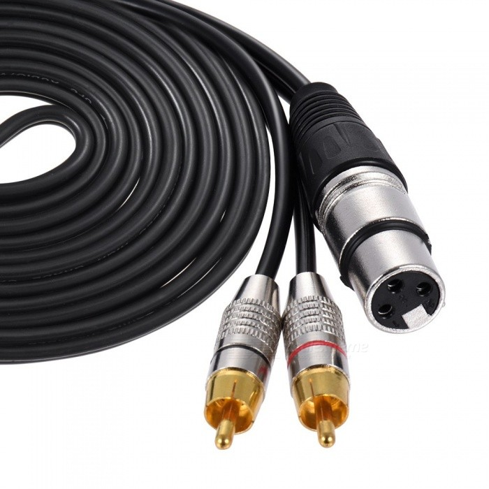 xlr female to 2 rca plug stereo audio microphone wire Speaker Terminal RCA Connector