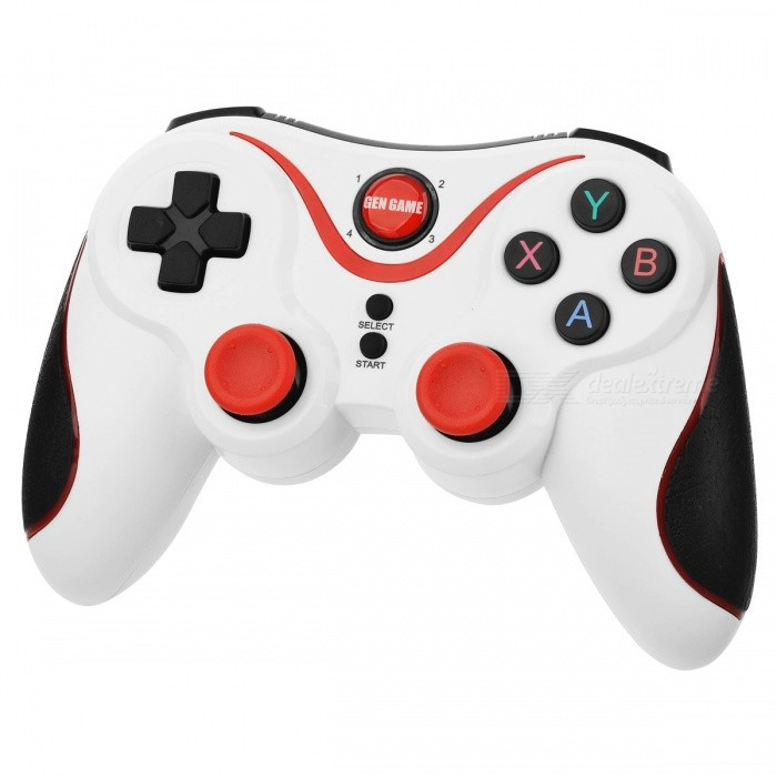 GEN GAME S5 Bluetooth Wireless Gamepad Handle w/ 400mA Battery - WhiteGame Gadgets<br>Form  ColorWhite + RedModelS5Quantity1 DX.PCM.Model.AttributeModel.UnitMaterialPlastic shellShade Of ColorWhiteCompatible Modelsios/AndroidPacking List1 x Handle1 x Charging line1 x English and Chinese Manual<br>