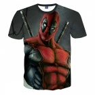 MB0115 3D-tryckning Deadpool Animation Motiv T-shirt-Svart + Röd (XL)