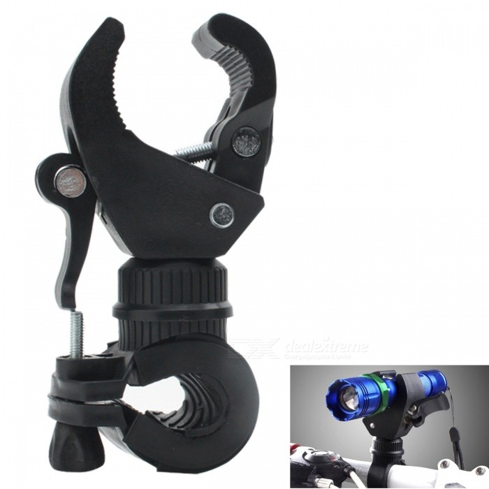 Universal Plastic Bicycle Flashlight Torch Mount Holder Clamp - Black