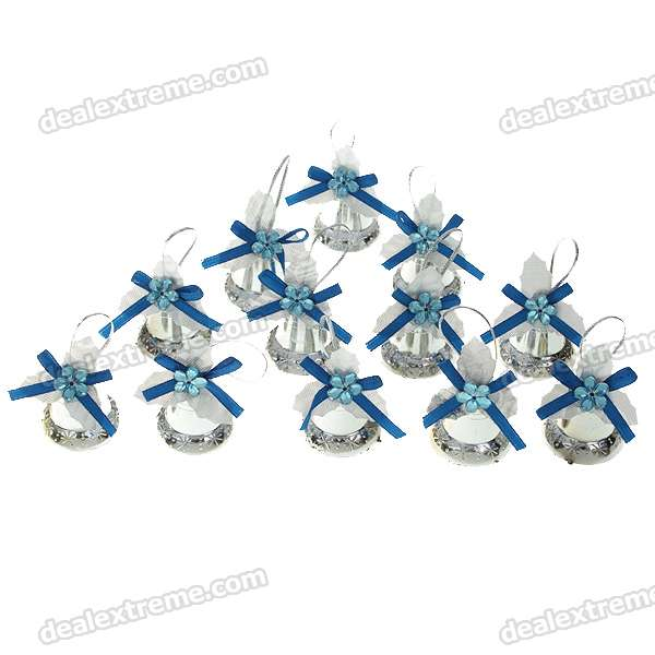 Festive Christmas Bells Shape Ornament - Silver + Blue (24-Piece Pack)