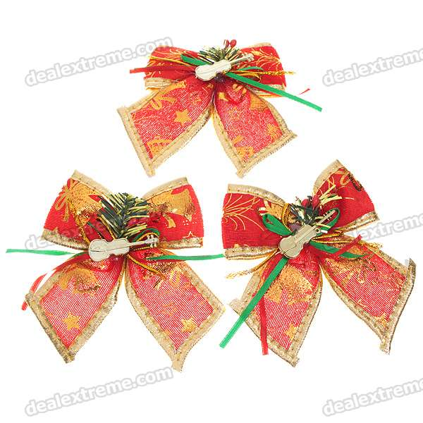 Festive Christmas Bow Ornament - Red + Gold + Green (6-Piece Pack)