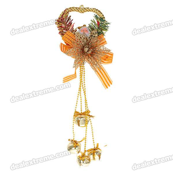 Festive Christmas Bells Ornament - Gold (2-Piece Pack)