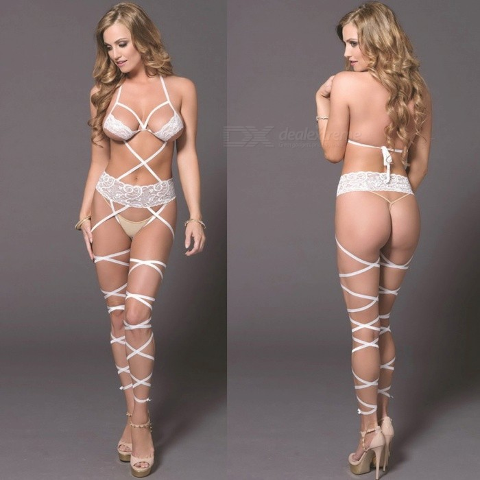 16d7ef6eb Lace Three-point Sross-strap Sexy Lingerie - White - Free shipping -  DealExtreme