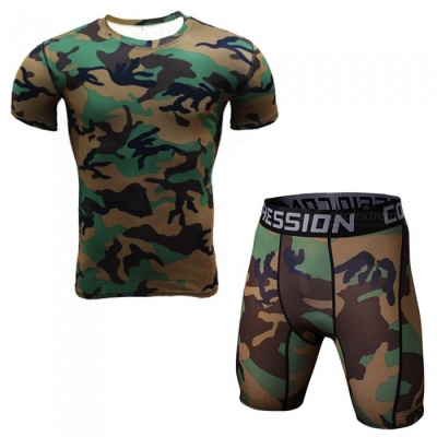 Sports Fitness Running Cycling Personality Short Suit - Army Green (L)