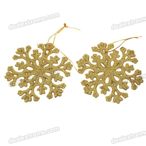 Festive Christmas Ornament Gold Snowflake Style (6-Piece Pack)