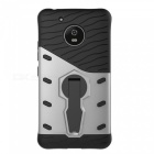 Protective Back Case w/ Holder for MOTO G5 - Black + Silver