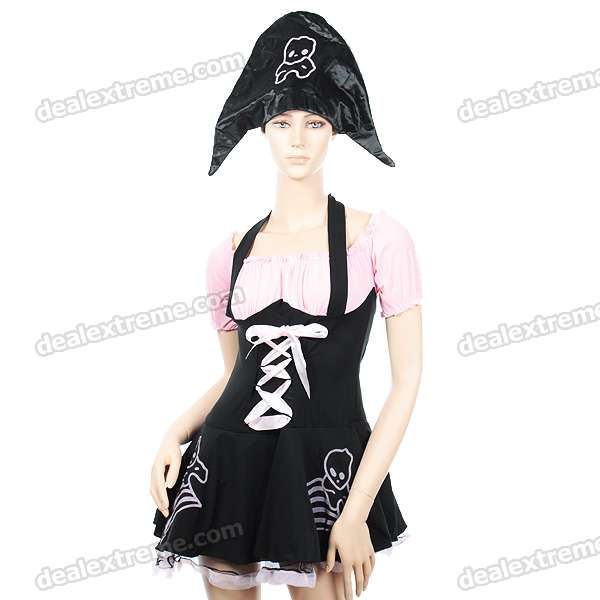 Halloween Cosplay Spandex Pirate Costume Dress Set (2-Piece Set)