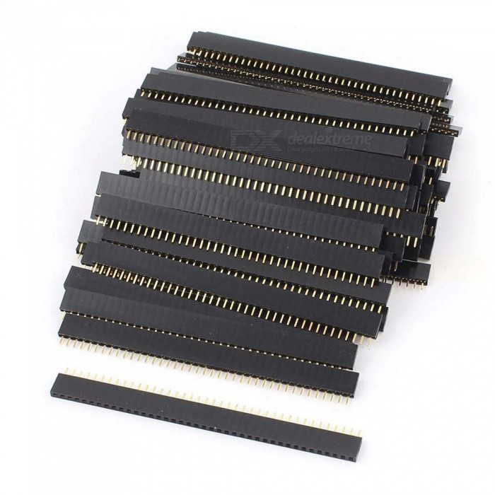 1x40 Pin 2.54mm Pitch Straight Single Row PCB Female Headers (80PCS)