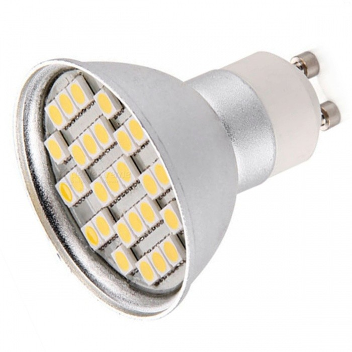 QooK GU10 4W Warm White 27 SMD LED Dimmable Spotlight Lamp BulbGU10<br>Color BIN 27 SMD5050 Warm WhiteModelJHRD16MaterialPCForm  ColorWhiteQuantity1 piecePower4WRated VoltageOthers,220~-265 VConnector TypeGU10Actual Lumens300 lumensEmitter Type5050 SMD LEDTotal Emitters27Color Temperature12000K,Others,3600KDimmableYesBeam Angle180 °Packing List1 x GU10 LED light<br>