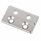 JEDX 40 x12 x4mm Rectangle NdFeB Magnets w/Dual Holes - Silver (2 PCS)