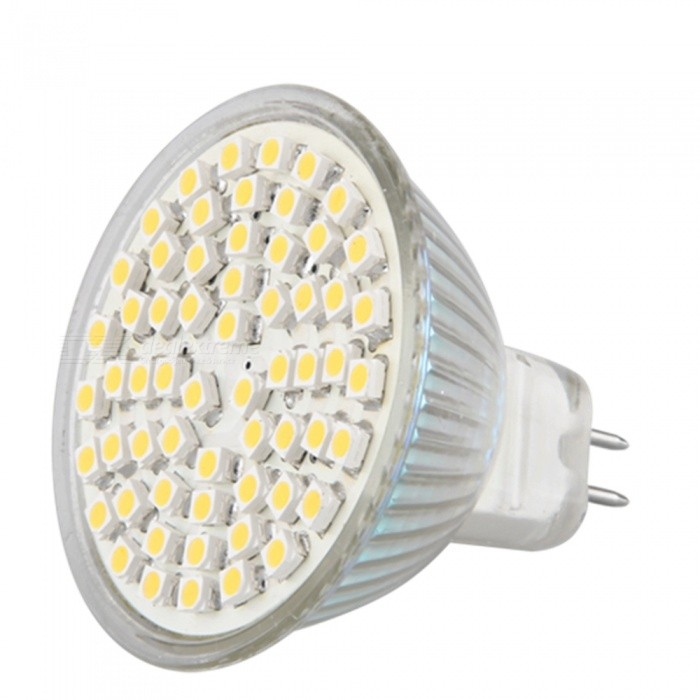QooK MR16 GU5.3 4W 60 LED 3528 SMD Warm White Spot Light Lamp BulbMR16<br>Color BIN60SMD3528   Warm WhiteModelJHCR28MaterialPCForm  ColorWhiteQuantity1 piecePower4WRated VoltageOthers,12 VConnector TypeMR16,GU5.3Emitter Type3528 SMD LEDTotal Emitters60Actual Lumens280~300 lumensColor Temperature3000KDimmableNoBeam Angle180 °Packing List1 x MR16 GU5.3 LED light<br>