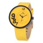 Fashion 3D Number Scale Watch for Women Lady, Leather Strap Quartz Wristwatch