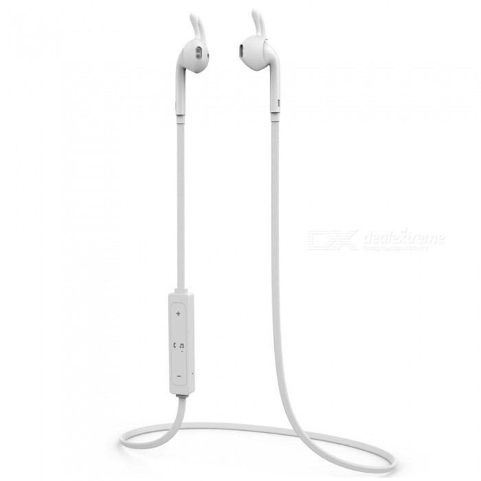 Wireless Bluetooth V4.1 Headset Sports Stereo Earphone - WhiteHeadphones<br>Form  ColorWhiteBrandOthers,NoMaterialABSQuantity1 DX.PCM.Model.AttributeModel.UnitConnectionBluetoothBluetooth VersionBluetooth V4.1Operating Range10mConnects Two Phones SimultaneouslyYesHeadphone StyleBilateral,In-EarWaterproof LevelIPX0 (Not Protected)Applicable ProductsUniversalHeadphone FeaturesPhone Control,Noise-Canceling,Volume Control,With Microphone,Lightweight,Portable,For Sports &amp; ExerciseSupport Memory CardNoSupport Apt-XNoPacking List1 x Stereo Bluetooth Headset1 x USB charging cable<br>