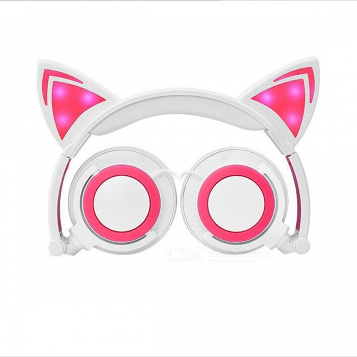 Glowing Cosplay Blinking Kids Cat Ear Wired Headphone - White + PinkHeadphones<br>Form  ColorWhite + Light PinkBrandOthers,N/AModelN/AMaterialABS + PUQuantity1 DX.PCM.Model.AttributeModel.UnitConnection3.5mm WiredBluetooth VersionNoConnects Two Phones SimultaneouslyNoHeadphone StyleHeadbandWaterproof LevelIPX0 (Not Protected)Applicable ProductsUniversal,IPHONE 7,IPHONE 7 PLUSHeadphone FeaturesPhone Control,Long Time Standby,Noise-CancelingRadio TunerNoSupport Memory CardNoSupport Apt-XNoSensitivity103±5dBBuilt-in Battery Capacity 90 DX.PCM.Model.AttributeModel.UnitPacking List1 x Headphone<br>