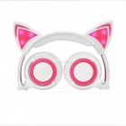 Glowing Cosplay Blinking Kids Cat Ear Wired Headphone - White + Pink