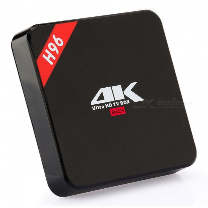 H96 RK3229 Quad-Core Android 6.0 DDR3 TV BOX w/ 1GB + 8GB (EU Plug)Smart TV Players<br>Form  ColorBlackBuilt-in Memory / RAM1GBStorage8GBPower AdapterEU PlugModelH96Quantity1 DX.PCM.Model.AttributeModel.UnitMaterialABSShade Of ColorBlackOperating SystemAndroid 6.0ChipsetRK3229CPUCortex-A7Processor Frequency2.0GHZGPUMali-400Menu LanguageEnglish,French,German,Italian,Spanish,Portuguese,Russian,Vietnamese,Polish,Greek,Danish,Japanese,Bahasa Indonesia,Korean,Thai,Maltese,Greek,Romanian,Chinese Simplified,Chinese TraditionalMax Extended Capacity32GBSupports Card TypeMicroSD (TF)Wi-Fi802.11 b/g/nBluetooth VersionNo3G FunctionNoWireless Keyboard/Mouse2.4GAudio FormatsMP3,WMA,APE,FLAC,OGG,AC3,DTS,AACVideo FormatsAVI,MKV,MOV,AVC,FLV,VOB,MPG,DAT,MPEGAudio CodecsDTS,AC3,FLACVideo CodecsMPEG-1,MPEG-2,H.264Picture FormatsJPEG,BMP,PNG,GIFSubtitle FormatsMicroDVD [.sub],SubRip [.srt],Sub Station Alpha [.ssa],Sami [.smi]idx+subPGSOutput Resolution1080PHDMI2.0USBUSB 2.0Power Supply5V 2APacking List1 x TV Box1 x EU Power charger adapter 1 x HDMI cable (optional)1 x IR remote control  (optional)1 x Users Manual<br>