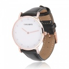 CAGARNY 6813 Fashion Women's Quartz Watch w/ Leather Strap - Black