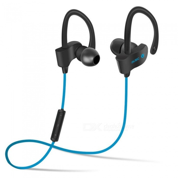 Wireless Bluetooth Stereo In-Ear Bass Earphone w/ Mic - Blue + Black